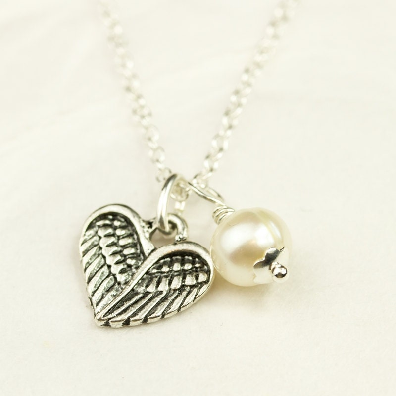 Miscarriage Necklace Baby Loss Jewelry Angel Wing Heart