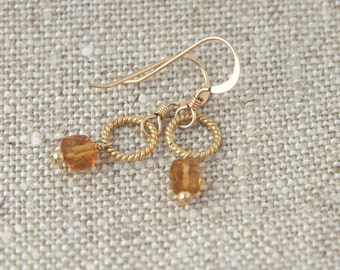 Peta Earrings: Delicate, faceted golden beer quartz gemstone cubes on 14k gold filled twisted rings and ear wires