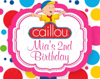 Personalized Caillou Theme Inspired Water Bottle Labels - (DIGITAL FILE)