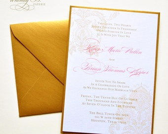 Gold Wedding Invitation, Elegant Wedding Invitations, Gold Monogram Wedding Invitations Set, Vintage Wedding Invitations Printable