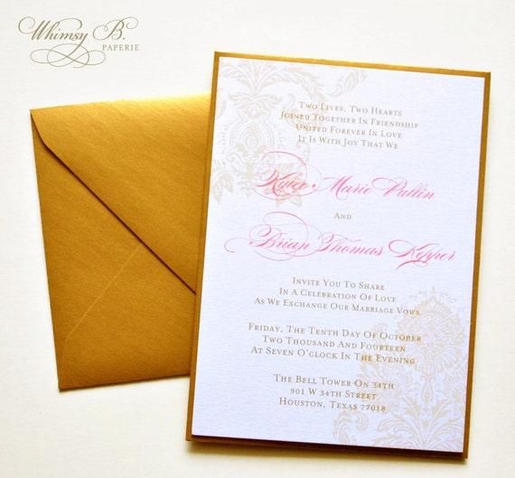 Gold Wedding Invitation, Elegant Wedding Invitations, Gold Monogram Wedding Invitations Set, Vintage Wedding Invitations Printable