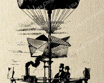 Airship Steampunk Instant Download Digital Transfer Image for Iron On / 36
