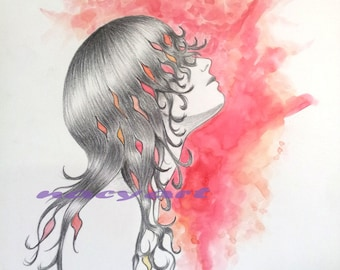 Original Drawing and Watercolor Painting, NOT A PRINT, 9x13