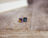 A Little Bokeh - Mixed Media post earrings featuring original photographs on polymer clay