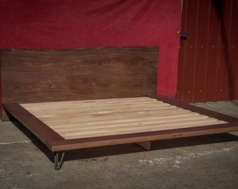 platform bed frame king size bed solid wood bed frame live edges - Wood Bed Frame King
