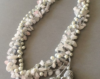 Bridal Necklace, Multistrand Necklace, Pearl Statement Necklace, Crochet Necklace, Statement Collar, Beaded Necklace, Wedding Pearl Jewelry