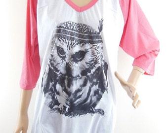 Size XL : Baby Owl Indian Shirt Owl Tshirt Owl shirt animal shirt graphic shirt teen shirt gift Women Tshirt baseball Tshirt Raglan Tshirt
