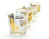 Gold Butterfly Glass Tumbler Set (4) - Juice / Lowball / Rocks Glasses, Elegant Frosted Effect - Vintage Home Kitchen or Barware