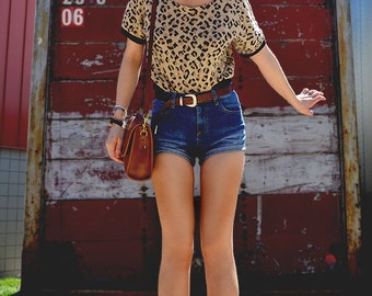 Leopard Print Open Neck Sweater / Off Shoulder Top / Small/Extra Small