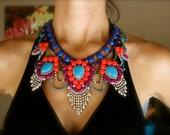 Custom Vintage Hand Painted Rhinestone Statement Necklace - Tom Binns look