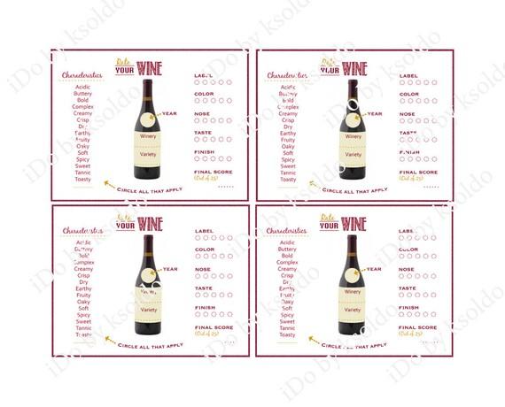 Wine Tasting Score Card Wine Tasting Rating Sheet Wine