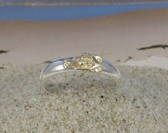 14k Gold and Sterling Silver Stacking Lobster Ring
