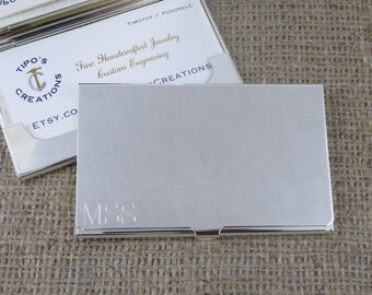 Silver Business Card Case - Personalized - Engraved - Corporate - Groomsmen - (196)
