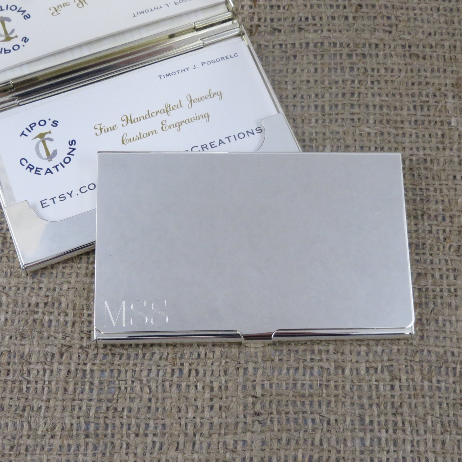 Silver Business Card Case Personalized Engraved