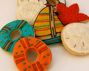 Summer / Nautical  / Sun and Sand Sugar Cookies with Buttercream Frosting