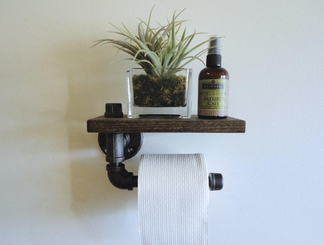 industrial black pipe toilet paper holder shelf by mobeedesigns. Black Bedroom Furniture Sets. Home Design Ideas