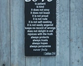 Love Is Patient-  Valentine's Day 1 Corinthians 13:4-8 Christian Bible Subway Typography Art Wooden Sign Wedding
