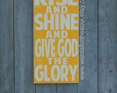 Rise Shine Give God the Glory Christian Sign Typography Scripture Art Kids Room
