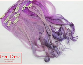 18' Full Set of Candy Floss Clip in Human Hair Extensions. Double Wefted, Lavender, Pink.