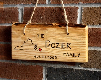 Hanging Rustic Wood Sign - Large-Long - Personalized Gift - Hand Engraved - Unique wedding gift