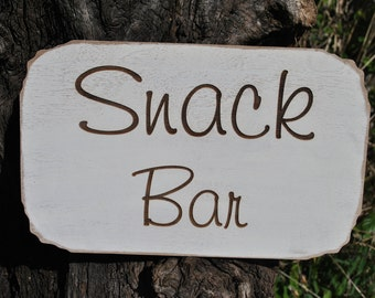 Snack Bar Wedding Sign Laser Etched, Handmade Wedding Decor.