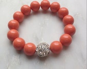 Coral Bracelet, Coral Jewelry, Silver Bead, Bridesmaid Gifts, Summer Fashion, Wedding, Coral Pearls