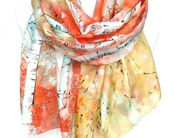 Trees Scarf. Forest Silk Scarf. Hand Painted Silk Shawl. Anniversary Present. Woman Birthday Gift. Unique Handmade. 18x71in MADE to ORDER