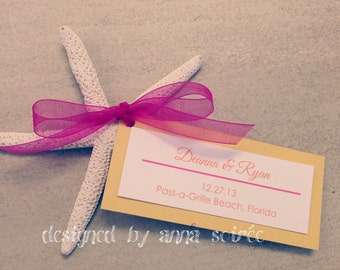 STARFISH Favors and Favor Tags- Double layer Favor tag and Starfish - You Personalize and customize Names and Colors