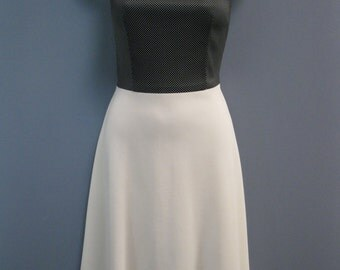 Vintage 1970's Black & White Polka Dot Dress Fit and Flare Nautical Summer Fresh