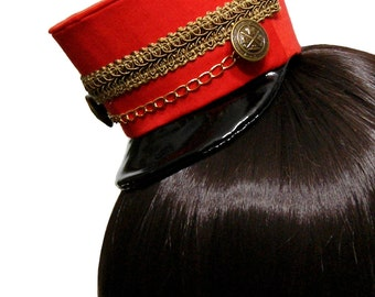 Red and Gold or Silver Mini Toy Soldier Hat - Made to Order