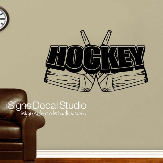 Hockey Wall Decal - Hockey Decor - Retro Hockey Decor - Hockey Sports Decals