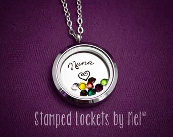 Nana - Grandmother Necklace - Hand Stamped Stainless Steel Locket - Grandchildren's Birthstones - Personalized Jewelry - Grandma, Granny