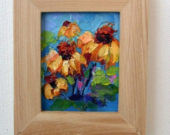 Miniature Mini Tiny Painting Cone Flower Wild Flower Original Palette Knife Oil Painting with Frame
