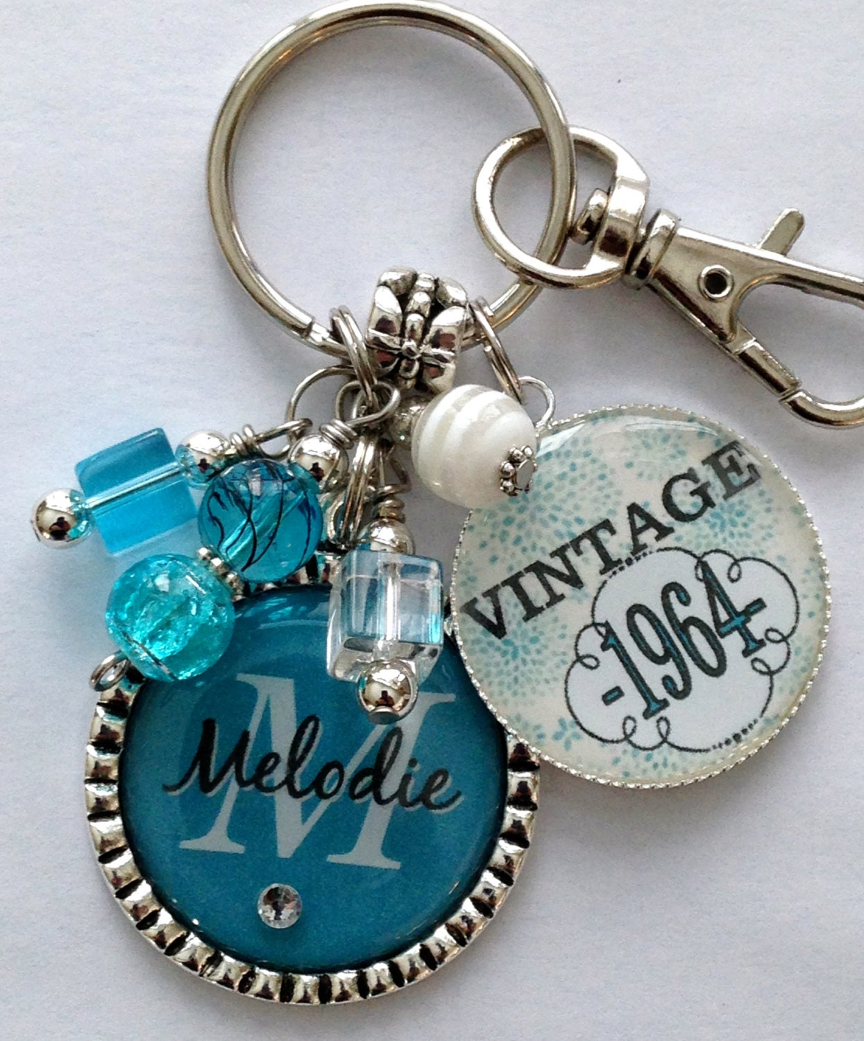 50th Birthday Gift Keychain Vintage Personalized Name Mother