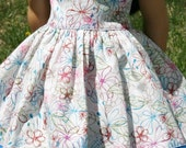 """Two Toned Cream Print Dress for 18"""" Dolls **ON SALE**"""