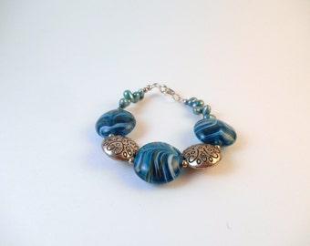 Blue Lentil Flamework Bracelet, Blue and Silver Flamework Bracelet, Blue Feathered Lampwork Bracelet, Feathered Lampwork Bracelet