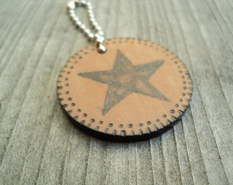 Wooden Woodburned Single Star Keychain, key chain, key fob, wood key chain