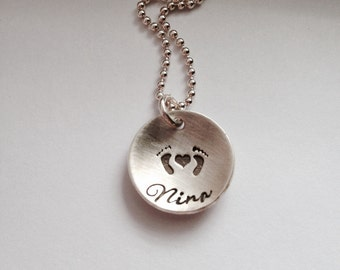 First Mothers Day Gift Personalized Jewelry New Mom Gift Baby Feet Custom Necklace Baby Shower Gift Hand Stamped Jewelry