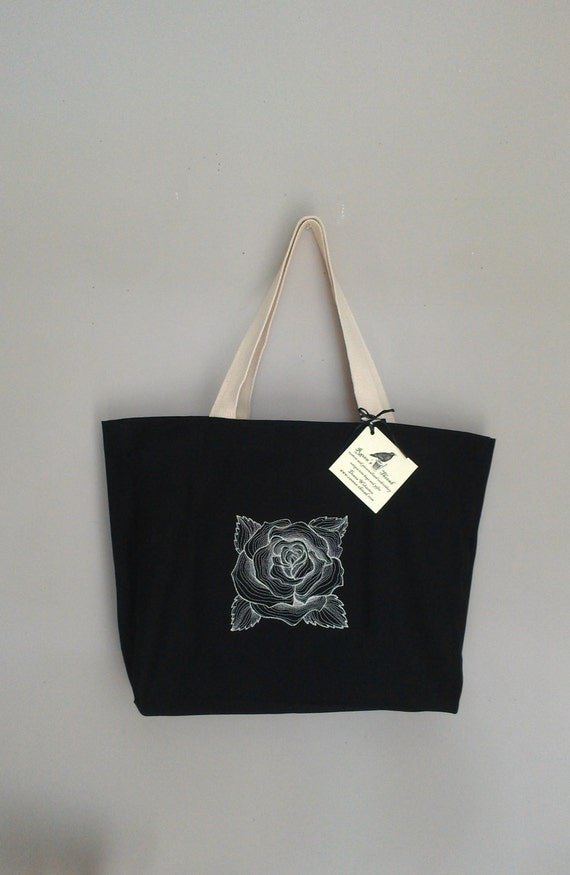 Embroidery rose tote bag purse