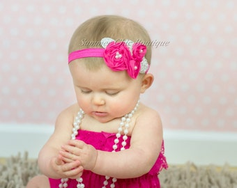 Bright Pink Baby Headband, Infant Headband, Newborn Headband, Shabby Chic Headband, Bright Pink Triple Chiffon Flower Headband