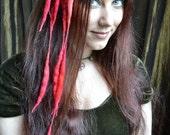 Sprite MINI ELFLOCKS Clip-in Dreads Streak in Red/Pink/Orange Dreadlocks Alt Fashion Tribal Dance Cosplay Goth LARP