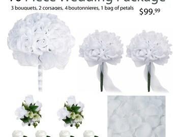 10 Piece Wedding Package - Silk Wedding Flowers - Bridal Bouquets - White Silk Rose Wedding Bouquets