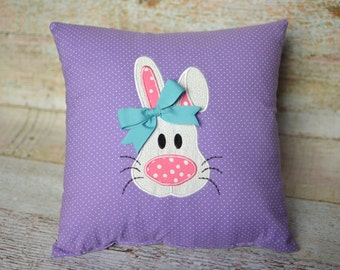 Embroidered Bunny Pillow