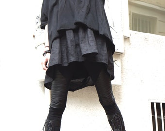 Asymmetrical Combo Tunic and Top / Oversize Black Linen  Loose Casual Top / Extravagant Dresses A12128