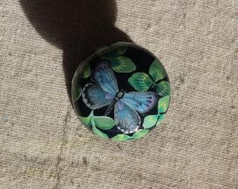 dresser knob, knob, cabinet knob, drawer pull, blue butterfly knob, black knob, green knob, knob for decoupage and painted furniture. KNOBS.