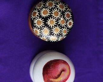 cabinet pull, dresser knob, fruit image, peach and plum, white knob, painted knob, decorative knob, kitchen decor, shabby kitchen knob knobs