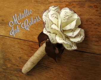 Rustic Twine Wrapped Metallic Ink  Wedding Fine Point Permanent Marker Sharpie with Personalized Paper Rose Top