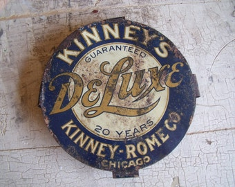 Vintage Collectible Signage Badge Kinneys Deluxe Tin Small Bedding Sign Rusty Gold Advertising