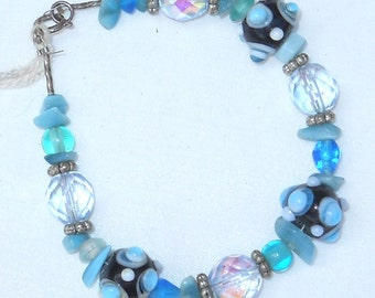 Bumpy Glass Beads with Crystal Beads and Sterling Silver Daisies