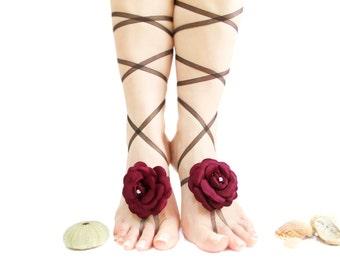 Wedding Barefoot Sandal, Wedding Anklet, Bangle, Burgundy Organza Flowers, Beach Wedding Barefoot sandals, Extraordinary